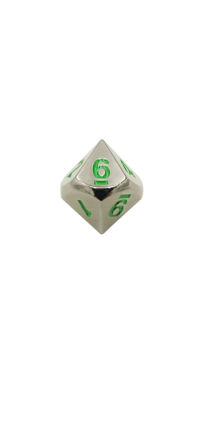 Metal Dice - Single D10 - Black Dragon (Shiny Black Nickel With Green Numbering) Metal Dice