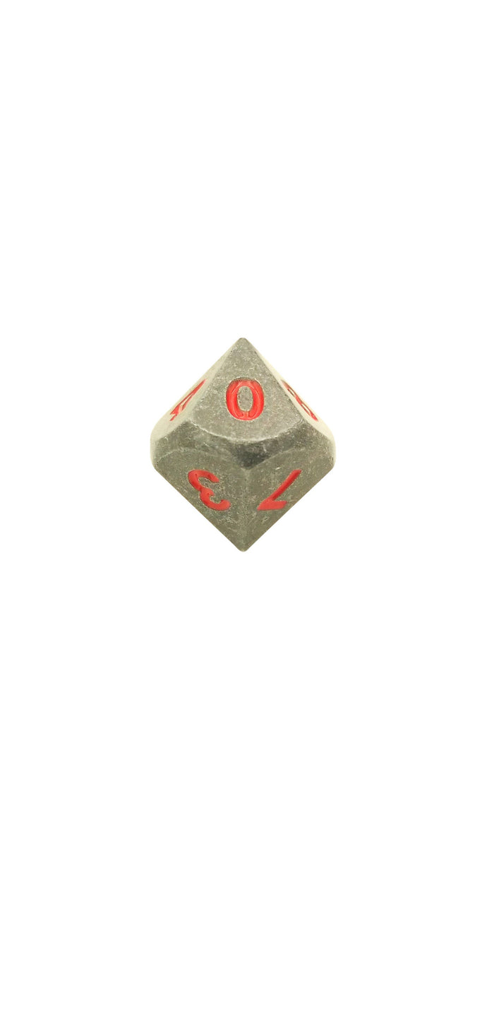 Metal Dice - Single D10 - Butcher's Bill (Industrial Gray With Red Numbers) Metal Dice