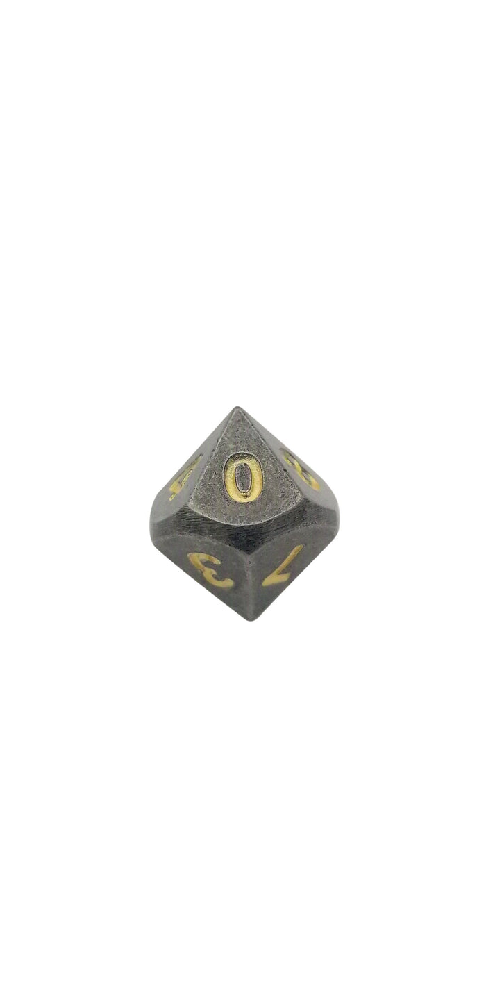 Metal Dice - Single D10 - Hunger Of The Ancients (Industrial Gray Color With Gold Numbering) Metal Dice