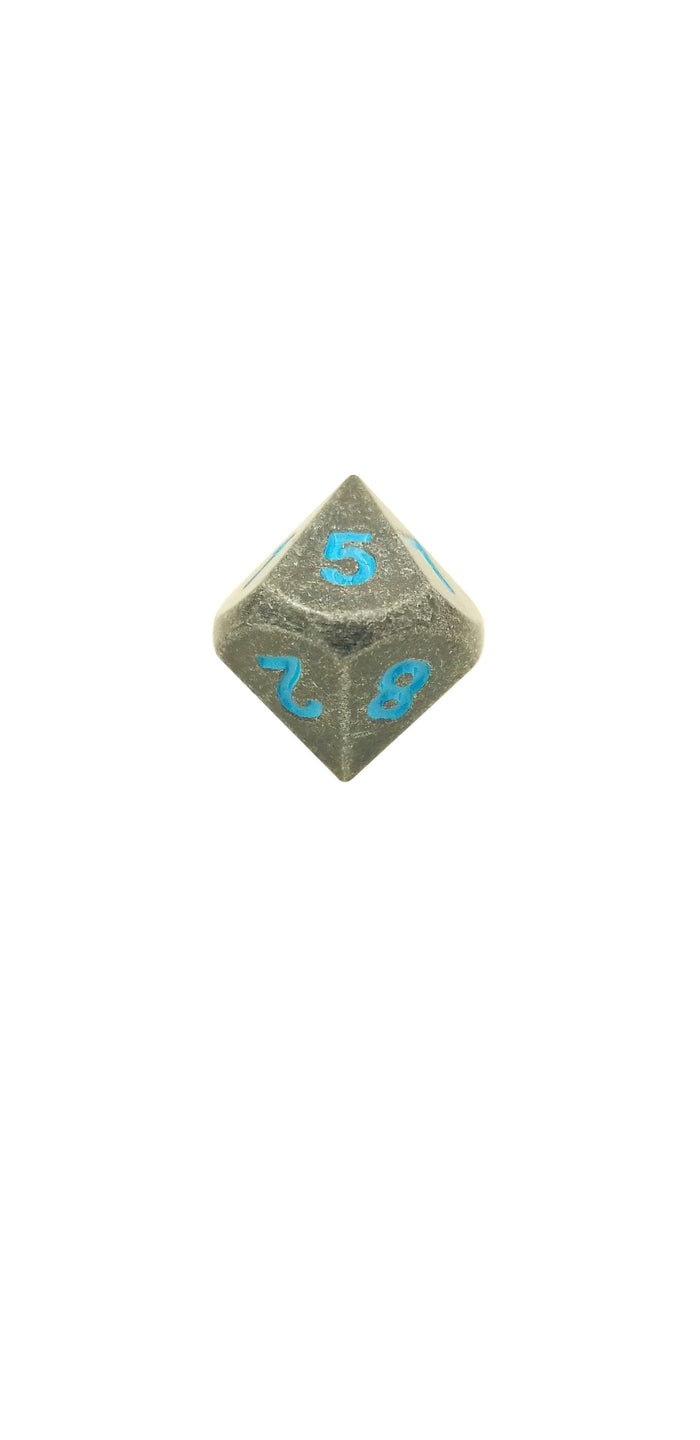 Metal Dice - Single D10 - Ice King's Revenge (Industrial Gray With Blue Numbers) Metal Dice