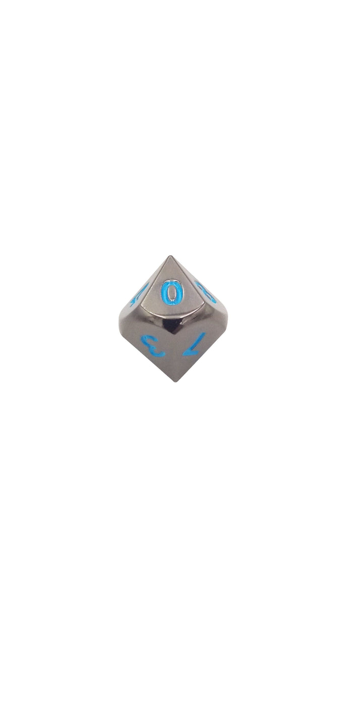 Metal Dice - Single D10 - Icy Doom (Shiny Black Nickel Finish With Blue Numbering) Metal Dice