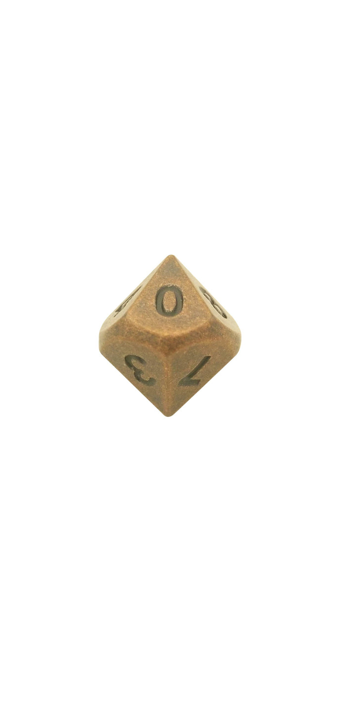 Metal Dice - Single D10 - Industrial Brass Color With Black Numbers Metal Dice