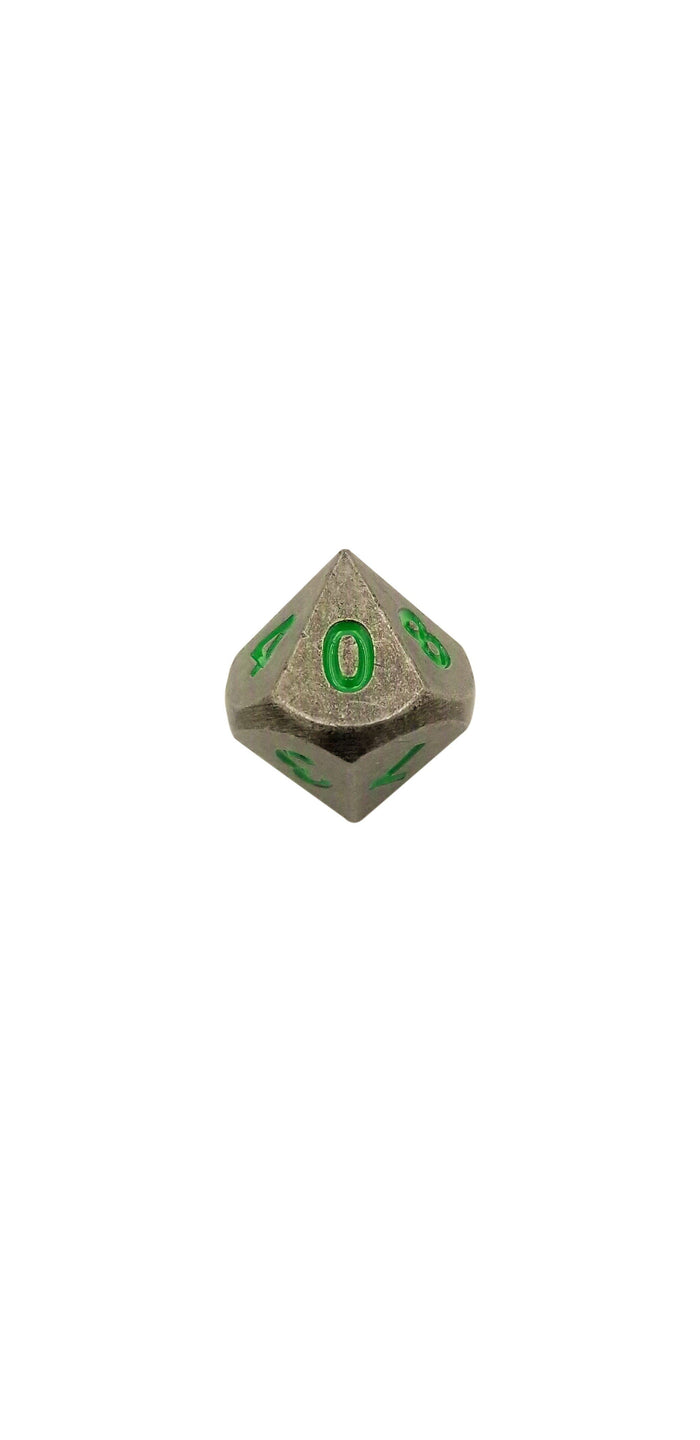 Metal Dice - Single D10 - Rackne's Curse (Industrial Gray With Green Numbers) Metal Dice