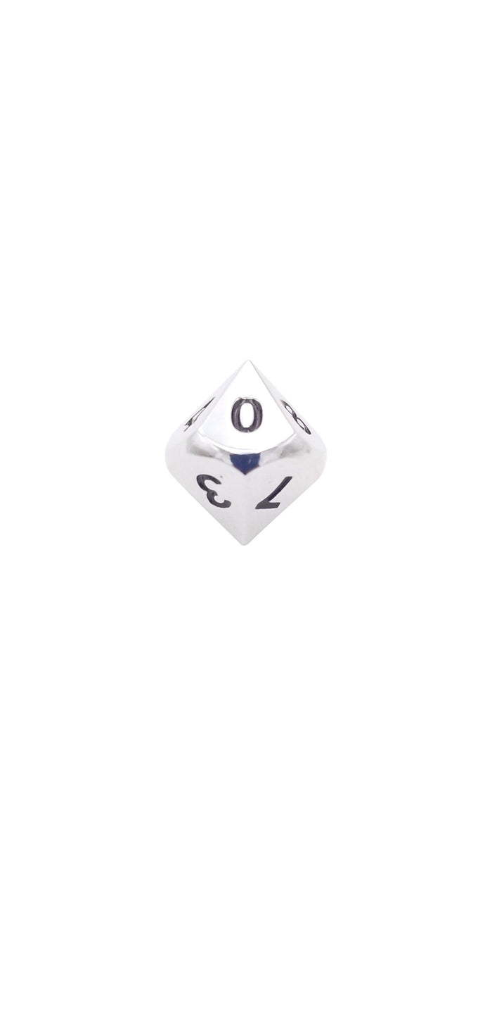 Metal Dice - Single D10 - Shiny Chrome / Silver Color With Black Numbering Metal Dice