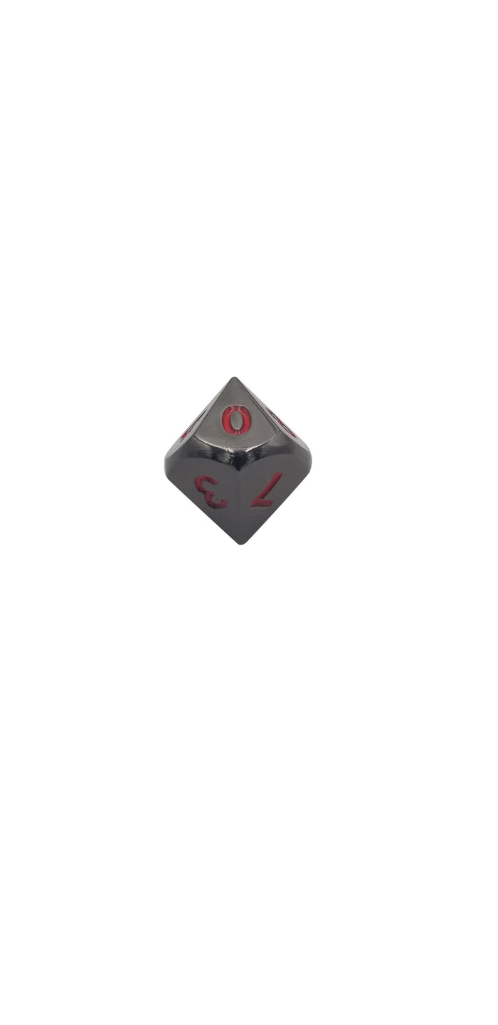 Metal Dice - Single D10 - Smoke And Fire | Shiny Black Nickel With Red Numbers Metal Dice