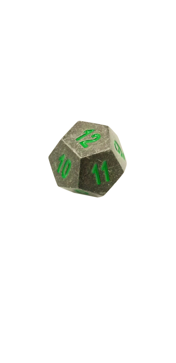 Metal Dice - Single D12 - Rackne's Curse | Industrial Gray With Green Numbers Metal Dice
