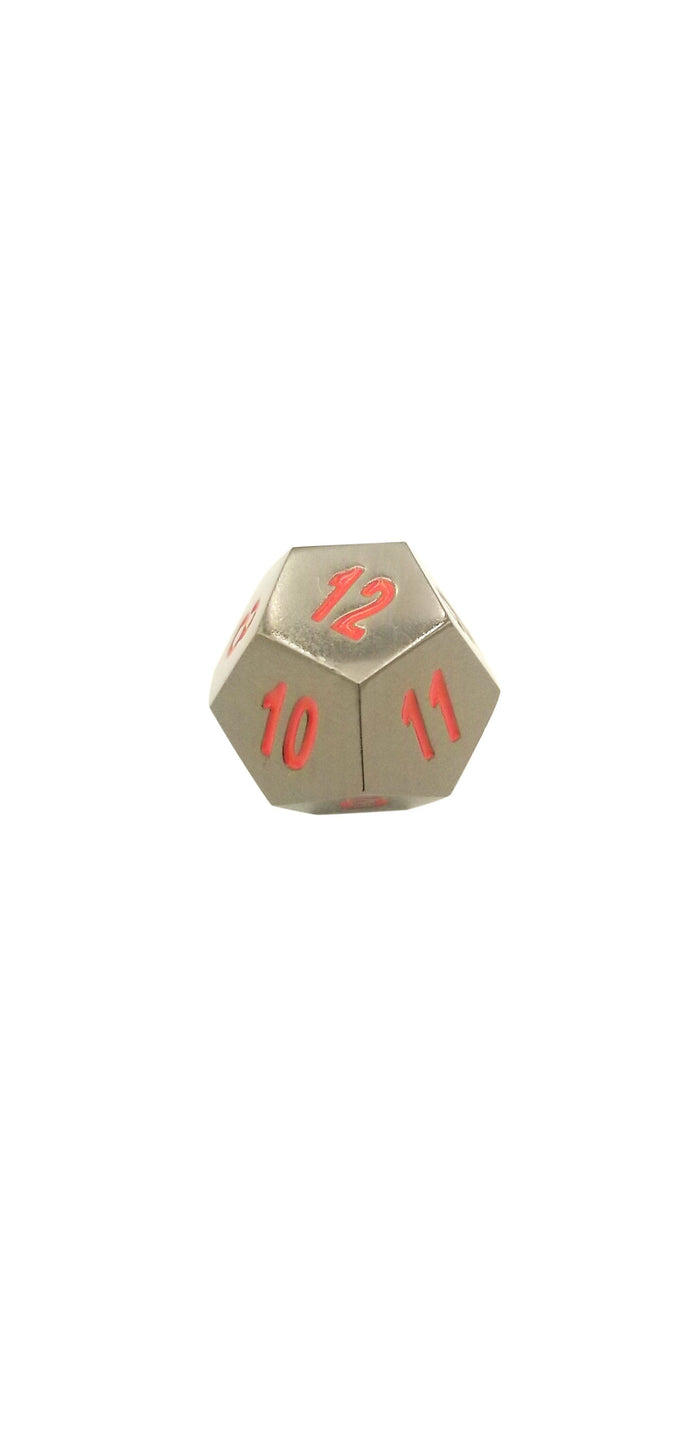 Metal Dice - Single D12 - Smoke And Fire | Shiny Black Nickel With Red Numbers  Metal Dice
