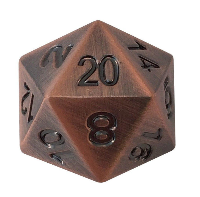 Metal Dice - Single D20 - Antique Brass Metal Die