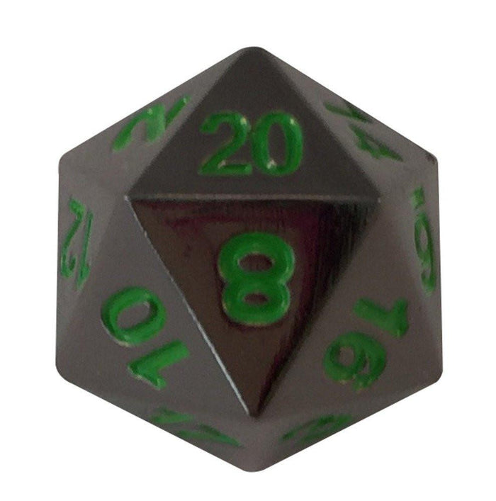 Metal Dice - Single D20 - Black Dragon | Shiny Black Nickel With Green Numbering Metal Dice