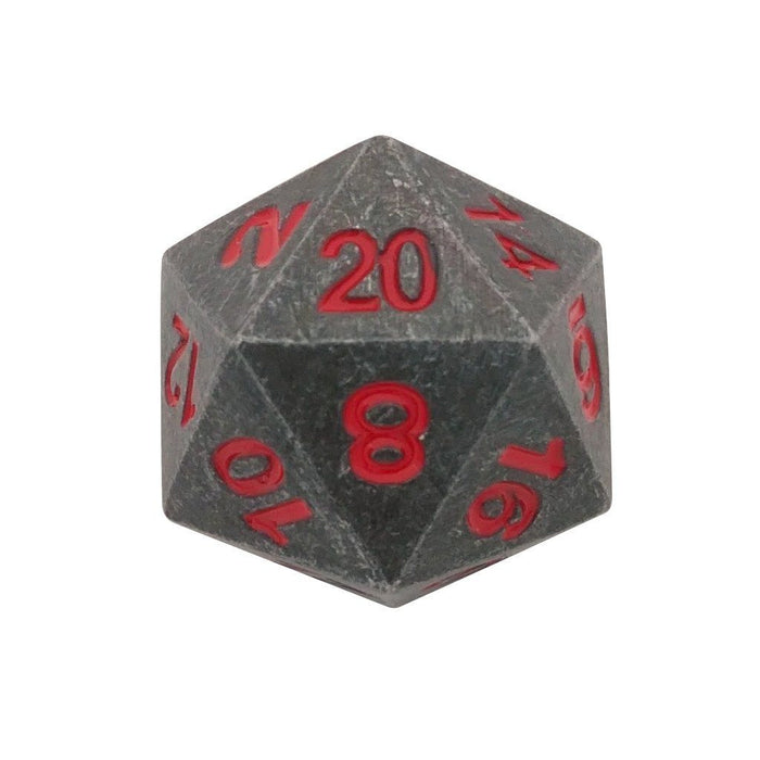 Metal Dice - Single D20 - Butcher's Bill | Industrial Gray With Red Numbers Metal Dice