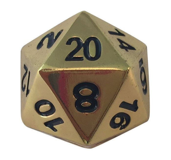 Metal Dice - Single D20 - Gold Color With Black Numbers Metal Die