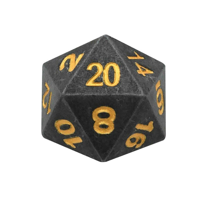 Metal Dice - Single D20 - Hunger Of The Ancients |  Industrial Gray Color With Gold Numbering  Metal Dice