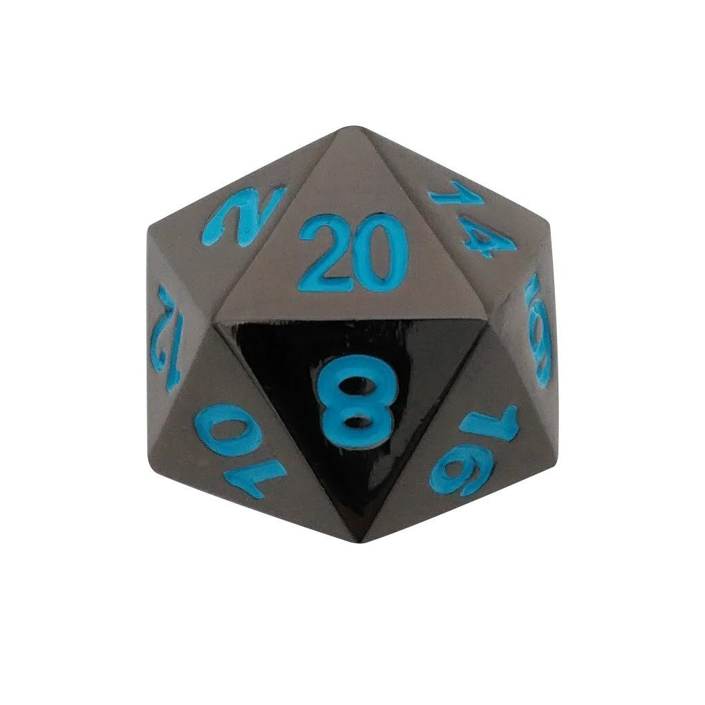 Single D20 - Icy Doom (Shiny Black Nickel with Blue Numbers) Metal Dice