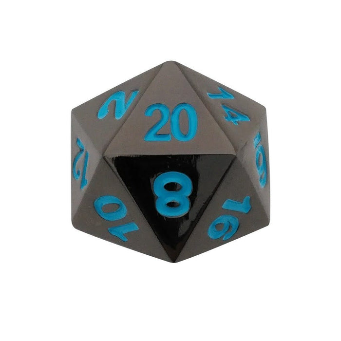 Metal Dice - Single D20 - Icy Doom | Shiny Black Nickel With Blue Numbers  Metal Dice