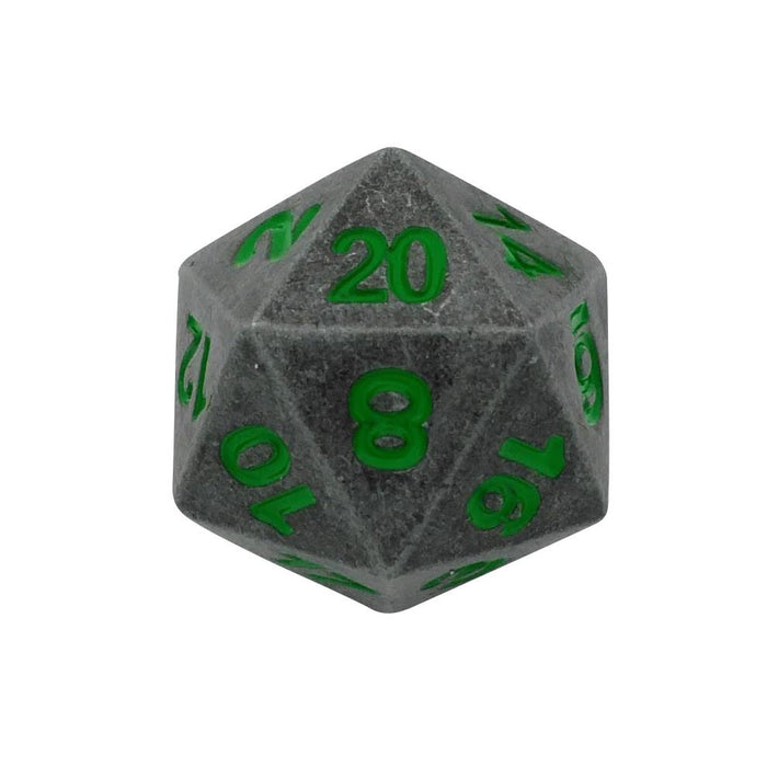 Metal Dice - Single D20 - Rackne's Curse | Industrial Gray With Green Numbers Metal Dice