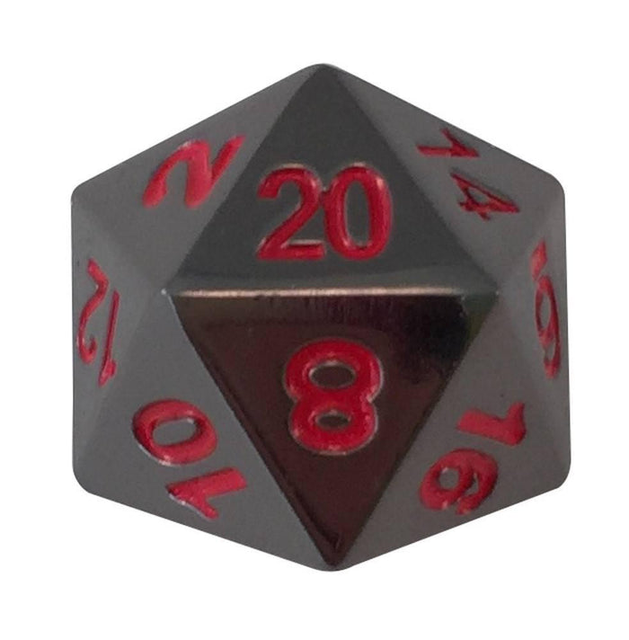 Metal Dice - Single D20 - Smoke And Fire | Shiny Black Nickel With Red Numbers Metal Dice