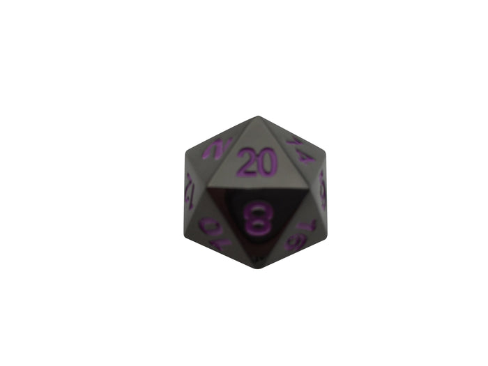 Metal Dice - Single D20 - Whispers Of The Void | Shiny Black Nickel With Purple Numbers Metal Dice Set