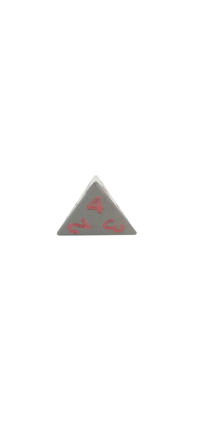 Metal Dice - Single D4 - Smoke And Fire (Shiny Black Nickel With Red Numbering) Metal Dice