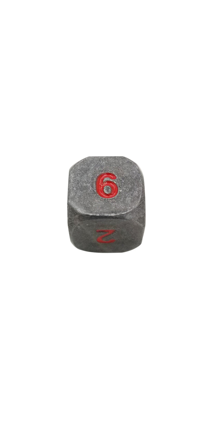 Metal Dice - Single D6 - Butcher's Bill (Industrial Gray With Red Numbers) Metal Dice