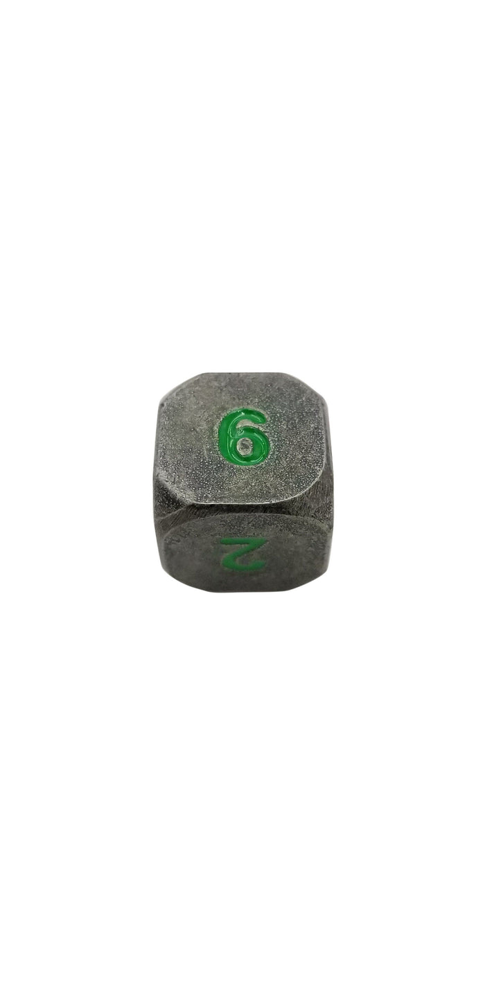 Metal Dice - Single D6 - Rackne's Curse (Industrial Gray With Green Numbers) Metal Dice