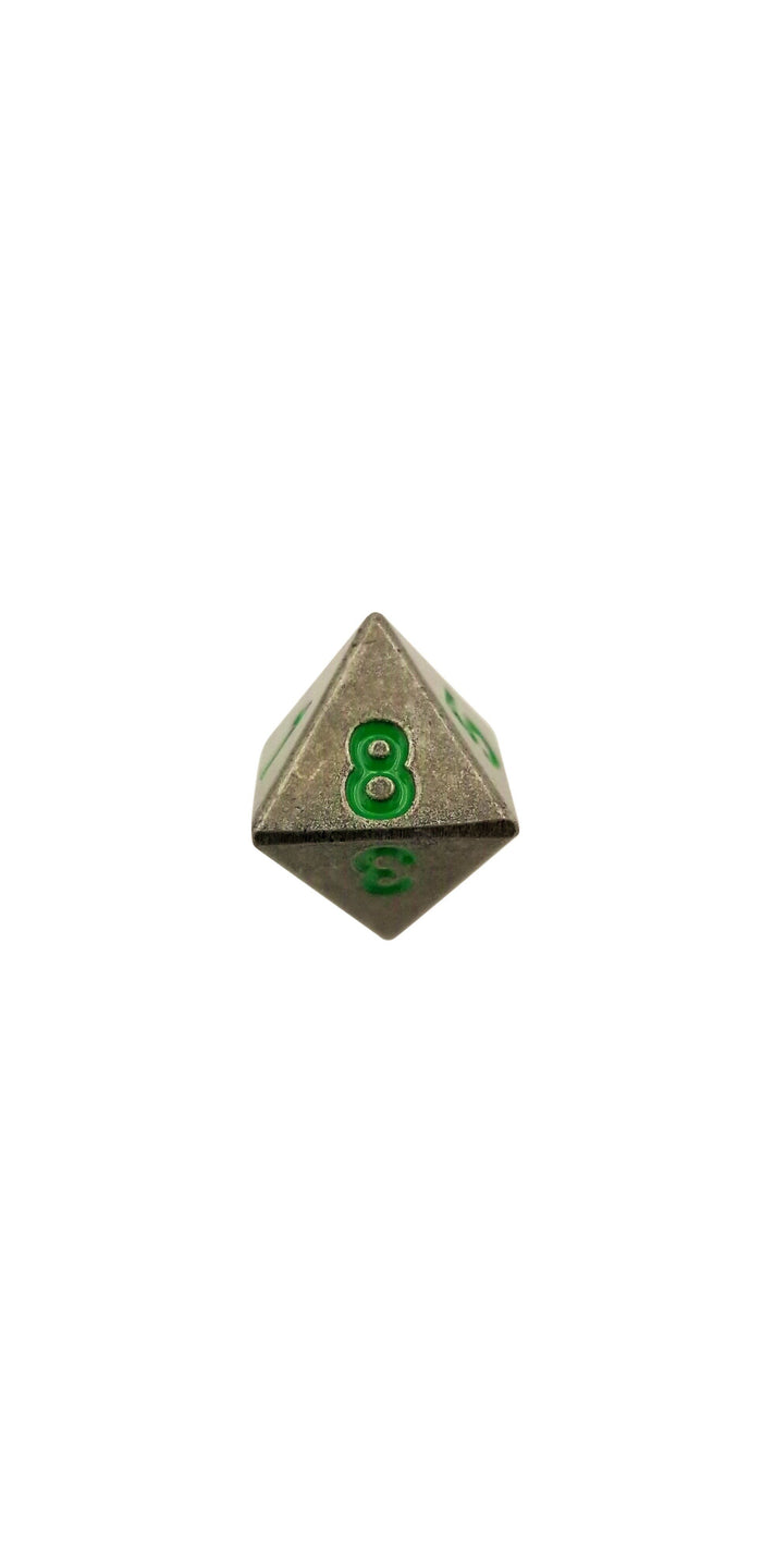 Metal Dice - Single D8 - Rackne's Curse (Industrial Gray With Green Numbers) Metal Dice