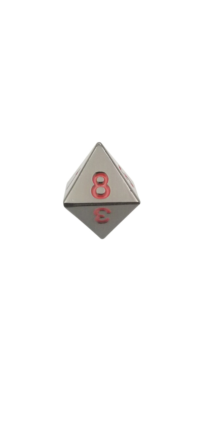 Metal Dice - Single D8 - Smoke And Fire (Shiny Black Nickel With Red Numbering) Metal Dice