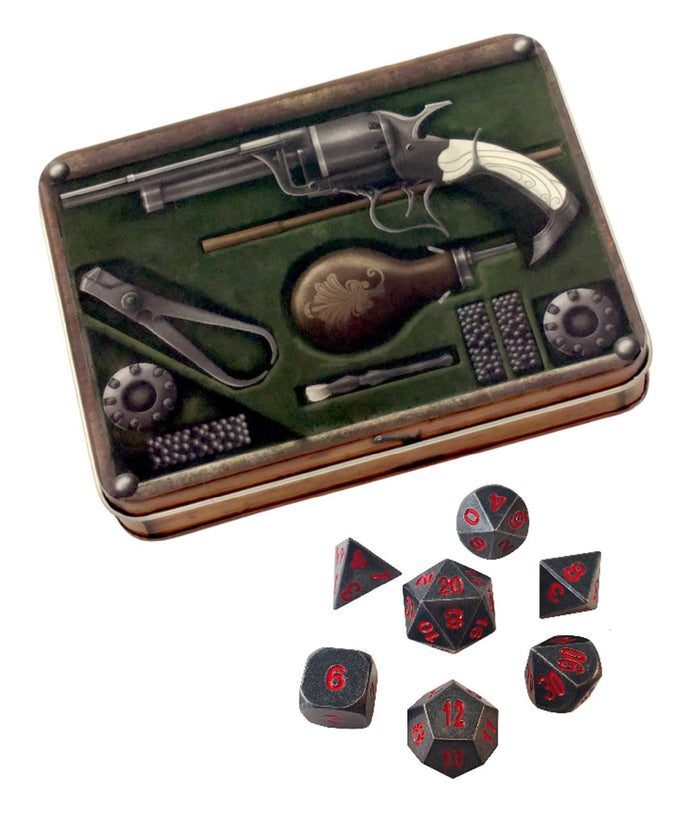 Metal Dice - Slinger's Kit With Butcher's Bill | Industrial Gray With Red Numbering Metal Dice