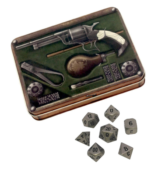 Gunslinger's Kit with Executioner's Step | Dull Silver Color with Black Numbers Metal Dice