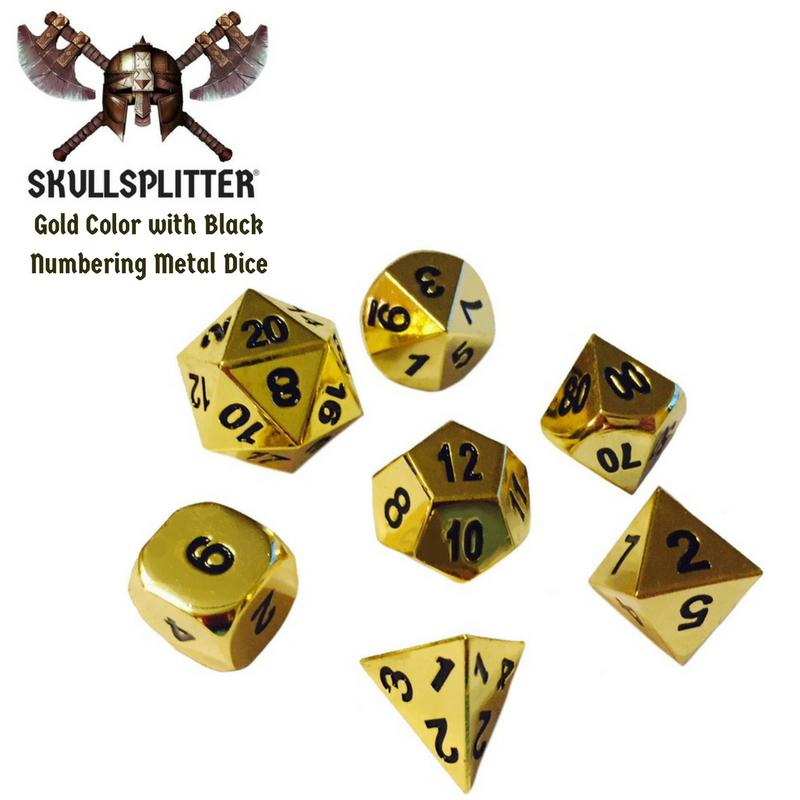 Metal Dice - Slinger's Kit With Gold Color With Black Numbers Metal Dice