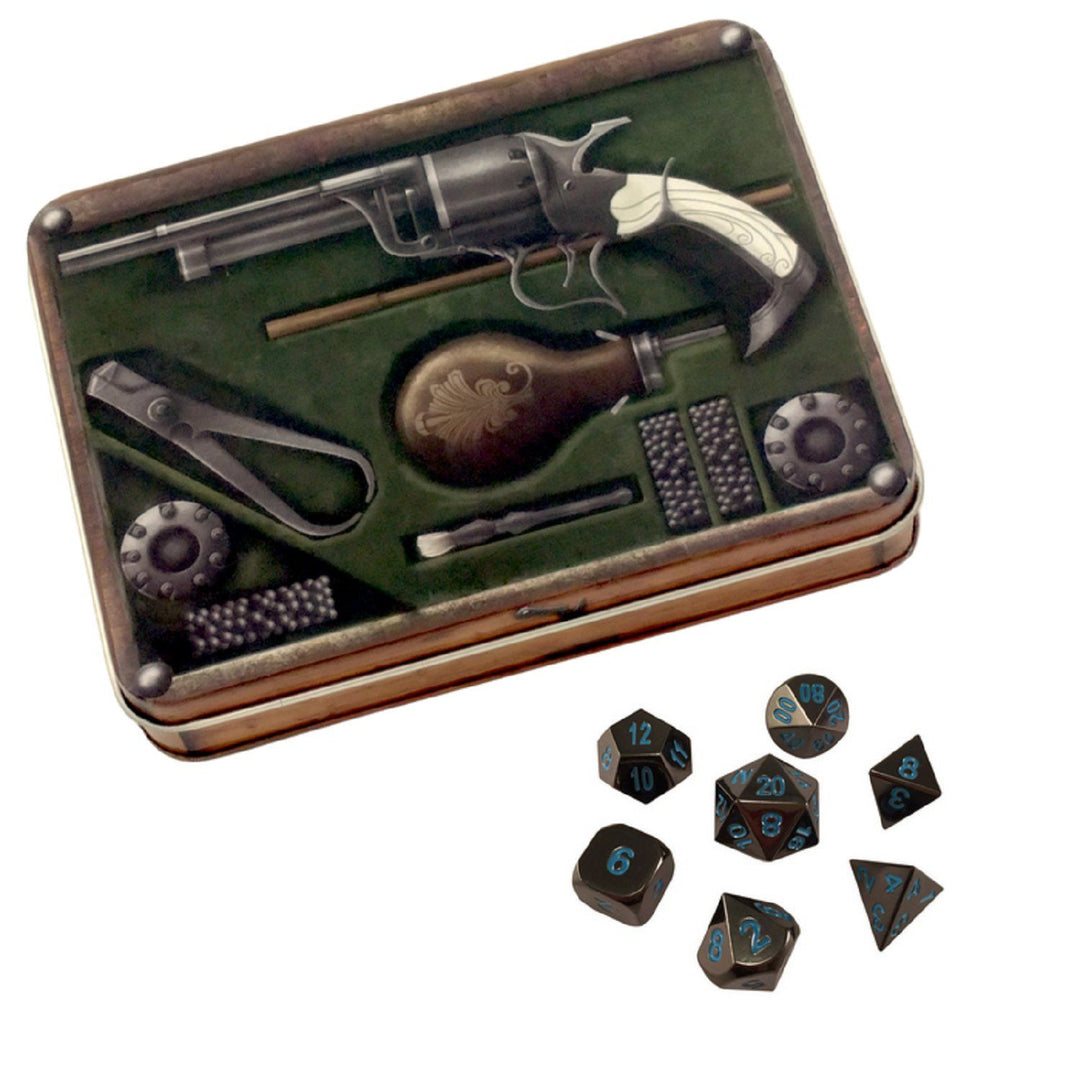 Metal Dice - Slinger's Kit With Icy Doom | Shiny Black Nickel With Blue Numbering Metal Dice