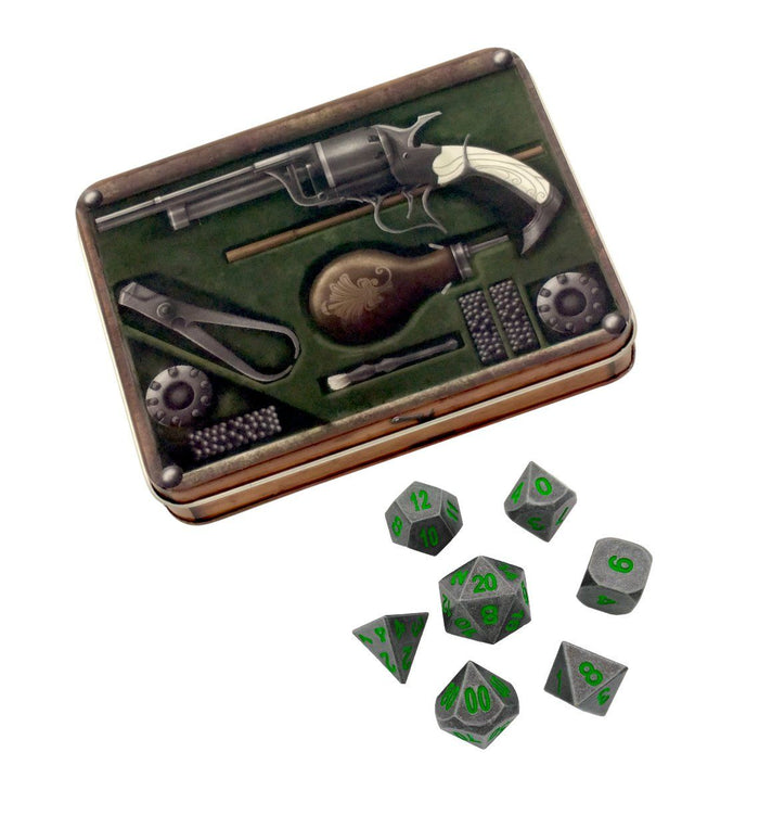 Metal Dice - Slinger's Kit With Rackne's Curse | Industrial Gray With Green Numbers Metal Dice