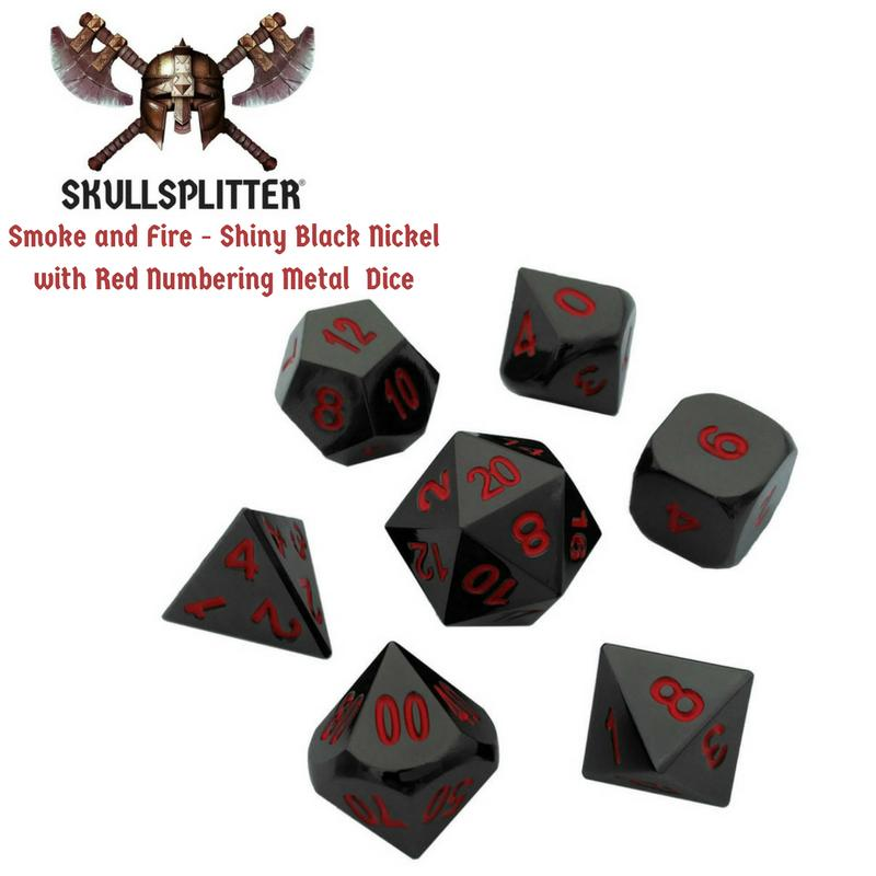 Metal Dice - Slinger's Kit  With Smoke And Fire | Shiny Black Nickel With Red Numbers Metal Dice