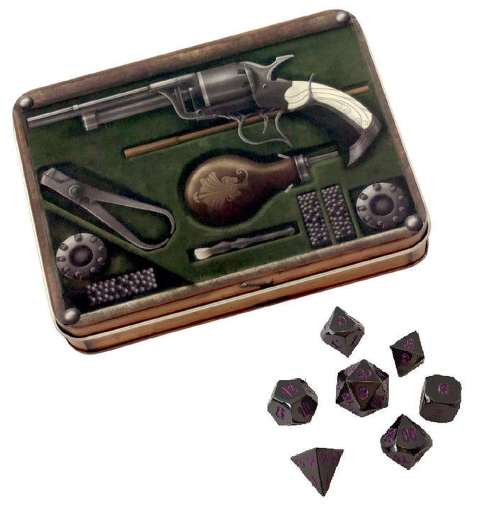 Metal Dice - Slinger's Kit With Whispers Of The Void | Shiny Black Nickel With Purple Numbering  Metal Dice
