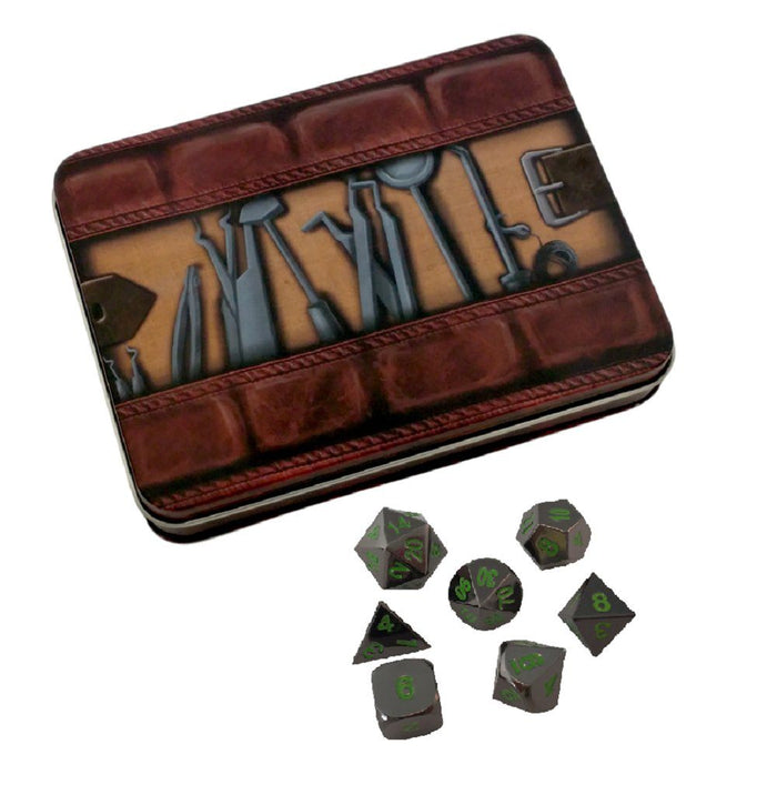 Metal Dice - Thieves' Tools With Black Dragon | Shiny Black Nickel With Green Numbering Metal Dice