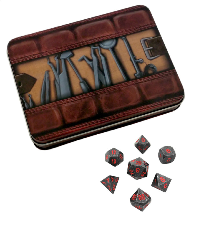 Metal Dice - Thieves' Tools With Butcher's Bill | Industrial Gray With Red Numbering Metal Dice