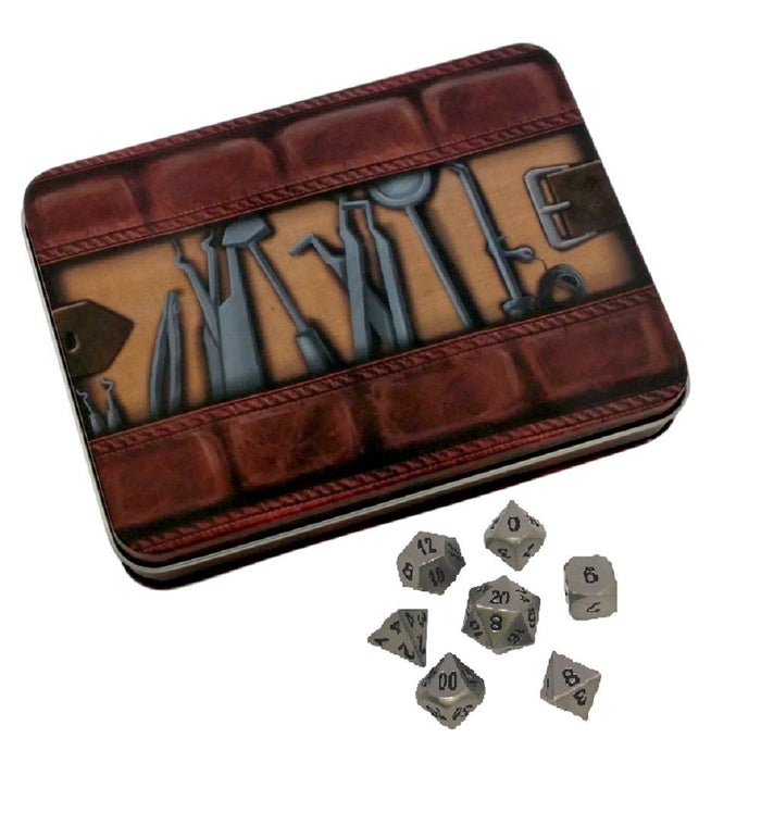 Metal Dice - Thieves' Tools With Executioner's Step | Dull Silver Color With Black Numbers Metal Dice