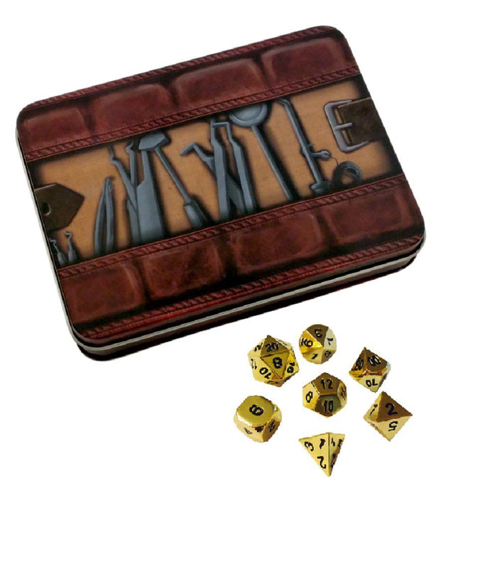 Metal Dice - Thieves' Tools With Gold Color With Black Numbering Metal Dice