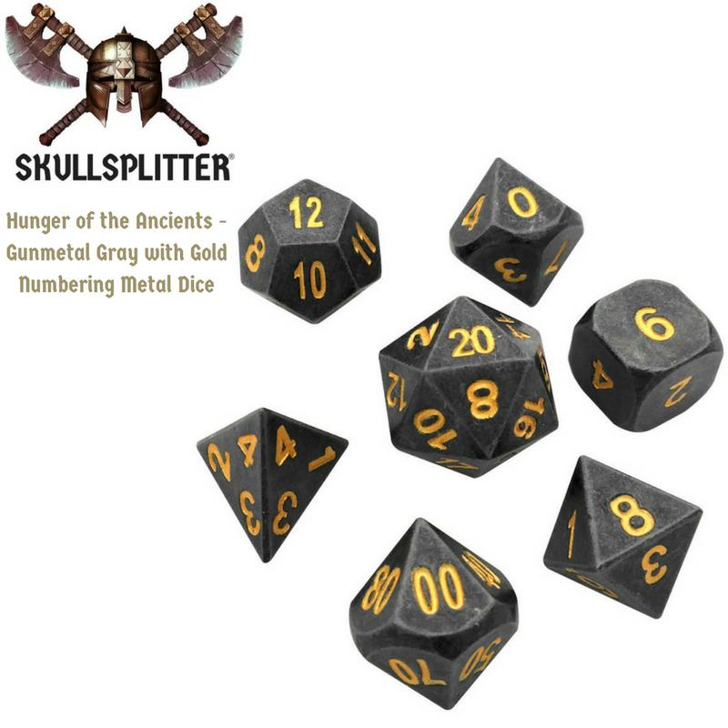 Metal Dice - Thieves' Tools With Hunger Of The Ancients |  Industrial Gray Color With Gold Numbering  Metal Dice