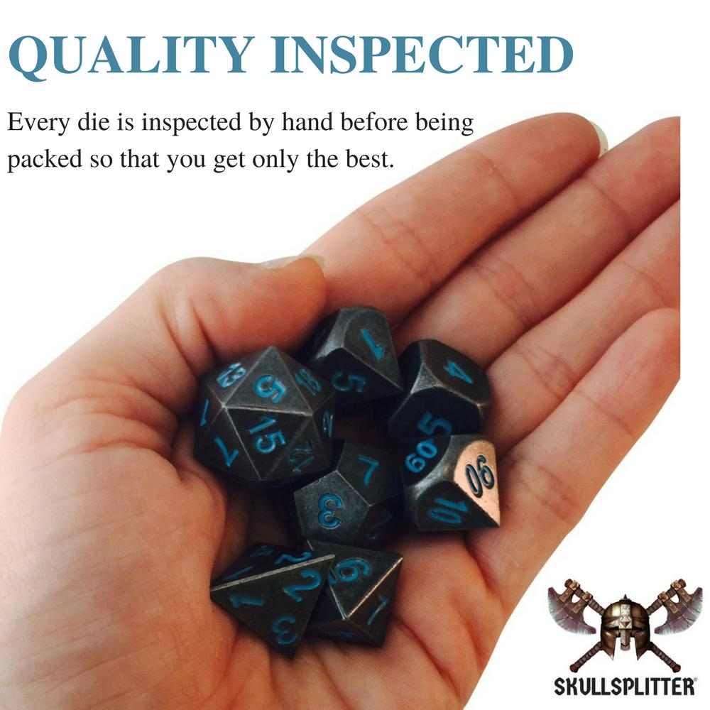 Metal Dice - Thieves' Tools With Ice King's Revenge | Industrial Gray With Blue Numbers Metal Dice