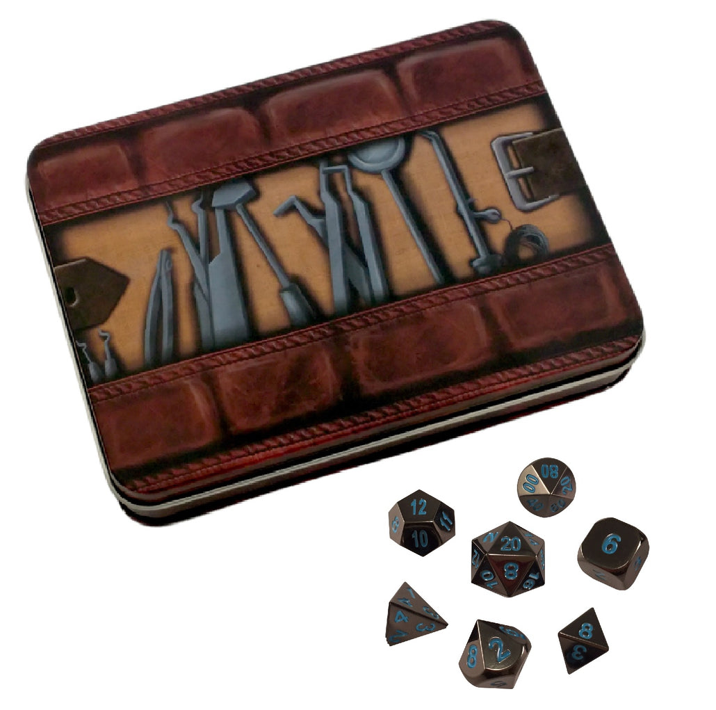 Thieves' Tools with Icy Doom | Shiny Black Nickel with Blue Numbering Metal Dice