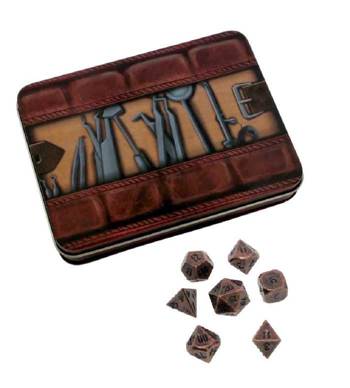 Metal Dice - Thieves' Tools With Industrial Brass Color With Black Numbers Metal Dice