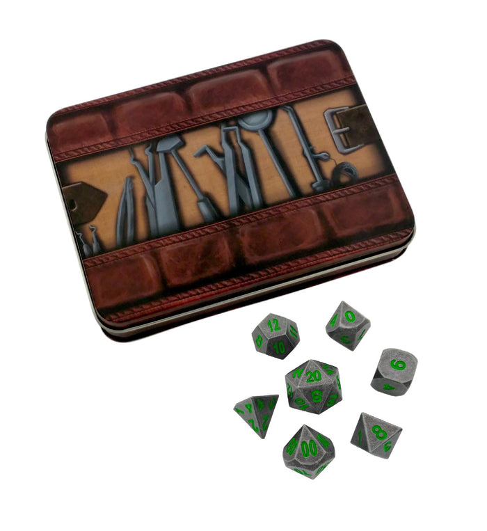 Metal Dice - Thieves' Tools With Rackne's Curse | Industrial Gray With Green Numbers Metal Dice