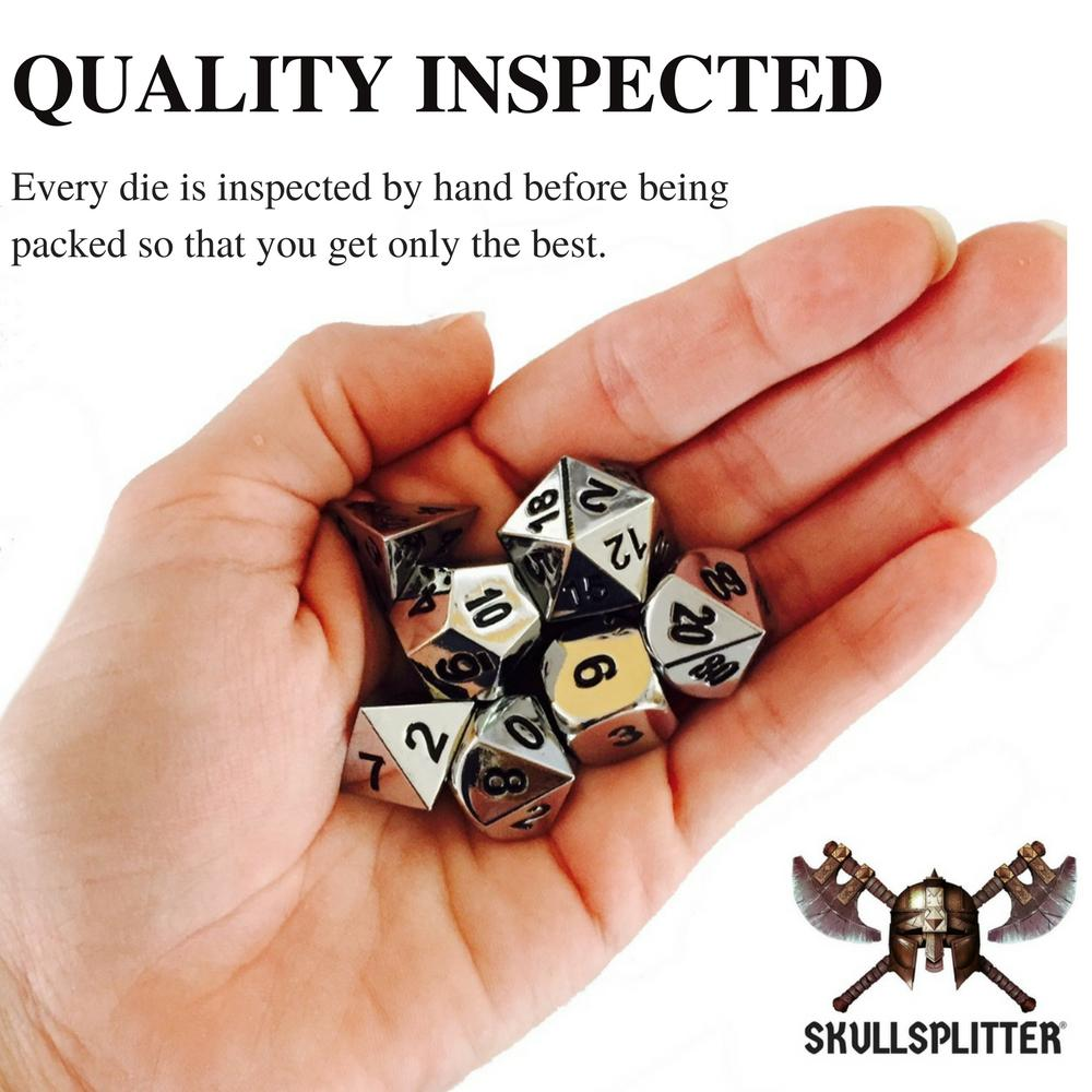 Metal Dice - Thieves' Tools With Shiny Chrome / Silver Color With Black Numbering Metal Dice Set