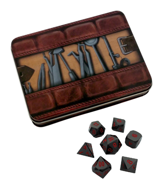 Metal Dice - Thieves' Tools With Smoke And Fire | Shiny Black Nickel With Red Numbers Metal Dice