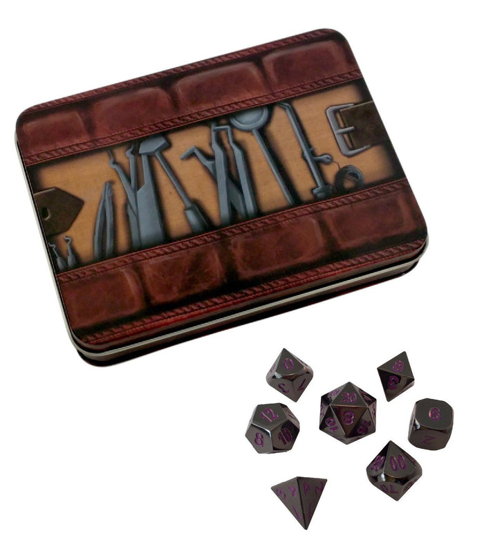 Metal Dice - Thieves' Tools With Whispers Of The Void | Shiny Black Nickel With Purple Numbering  Metal Dice