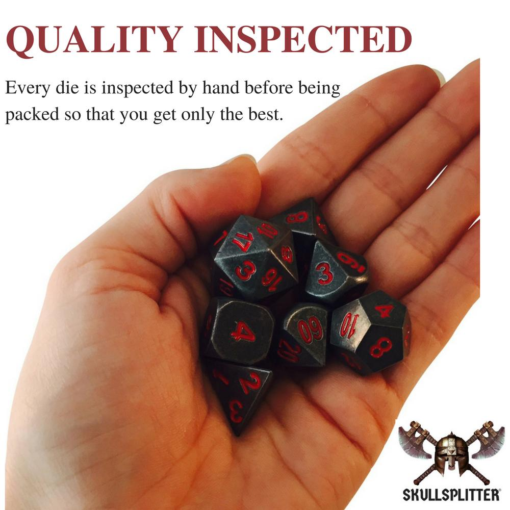 Metal Dice - Warlock Tome With Butcher's Bill |  Industrial Gray With Red Numbering Metal Dice