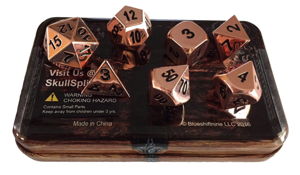 Metal Dice - Warlock Tome With Copper Color  With Black Numbering Metal Dice