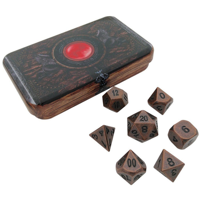 Metal Dice - Warlock Tome With Industrial Brass Color With Black Numbering Metal Dice