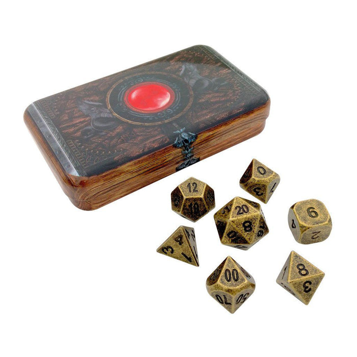 Metal Dice - Warlock Tome With Industrial Gold Color With Black Numbering Metal Dice