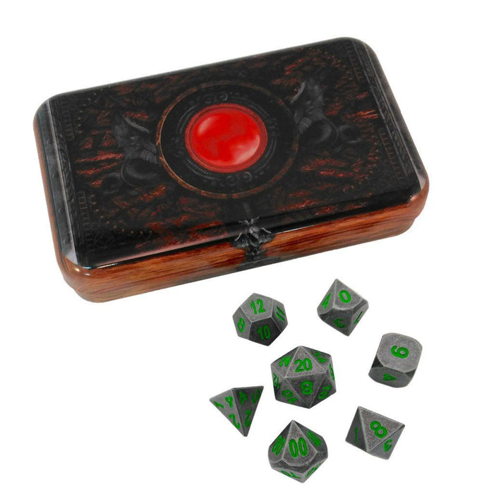 Metal Dice - Warlock Tome With Rackne's Curse | Industrial Gray With Green Numbers Metal Dice